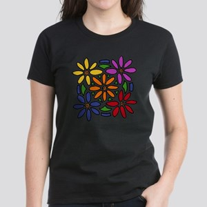 Colorful Daisy Floral Art Women's Dark T-Shirt