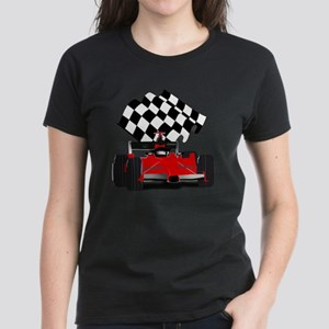 Red Race Car with Checkered F Women's Dark T-Shirt