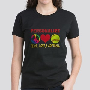 Personalize Girls Softball Women's Dark T-Shirt