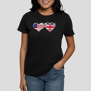 7ae170e56f83 USA and UK Heart Flag Women's Dark T-Shirt