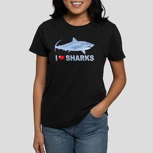 0855e685 I Love Sharks Women's Dark T-Shirt