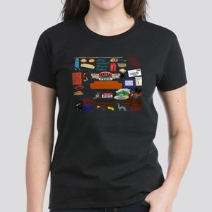 Friends TV Show Collage Women's Dark T-Shirt