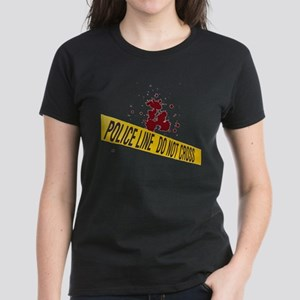 Police line with blood spatte Women's Dark T-Shirt