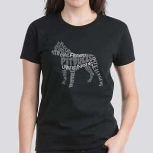 Pit Bull Word Art Greyscale Women's Dark T-Shirt