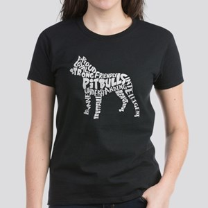 Pit Bull Word Art Women's Dark T-Shirt