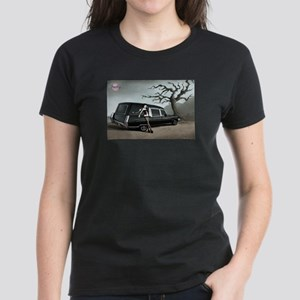 Hearse with Gothic Pin-up Gir Women's Dark T-Shirt