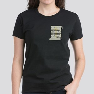 John 11:25-26 Women's Dark T-Shirt