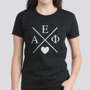 Alpha Epsilon Phi Cross Heart Women's Dark T-Shirt