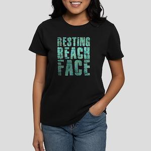Resting Beach Face Print Women's Dark T-Shirt