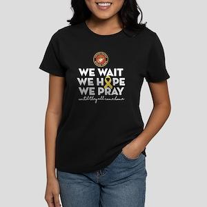 USMC We Wait Hope Pray Women's Dark T-Shirt
