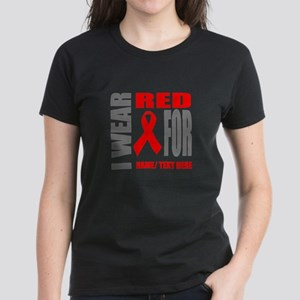 Red Awareness Ribbon Customiz Women's Dark T-Shirt