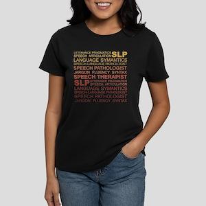 Speech Therapist Word Cloud Women's Dark T-Shirt