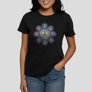 Hippie Peace Flower Women's Dark T-Shirt
