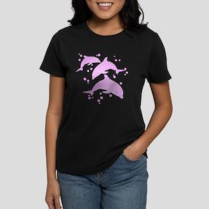 Pink Dolphins Women's Dark T-Shirt