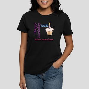 Personalized Birthday Cupcake Women's Dark T-Shirt