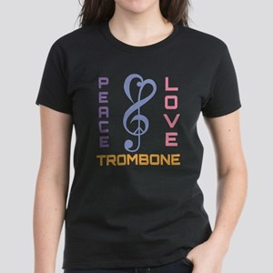 Peace Love Trombone Music Women's Dark T-Shirt