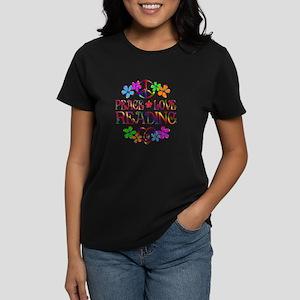 Peace Love Reading Women's Dark T-Shirt