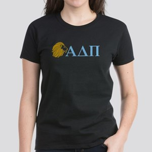 Alpha Delta Pi Lion Letters Women's Dark T-Shirt