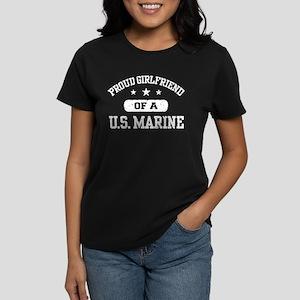 Proud Marine Girlfriend Women's Dark T-Shirt