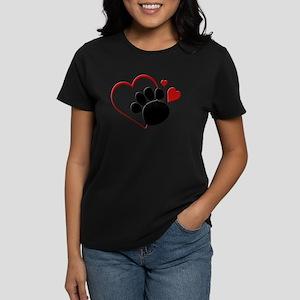 Dog Paw Print with Love Hear T-Shirt