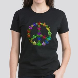 Rainbow Peace Marijuana Leaf Art Women's Dark T-Sh