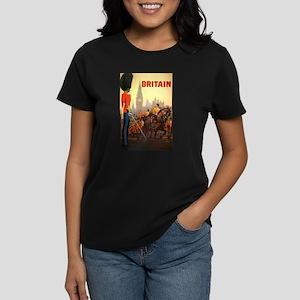 Vintage Travel Poster, Britai Women's Dark T-Shirt