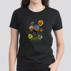 Colorful Embroidered Pansies Women's Dark T-Shirt