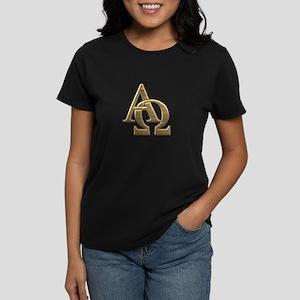 """3-D"" Golden Alpha and Omega Symbol Women's Dark T"