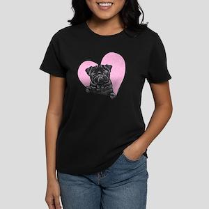 Black Pug Pink Heart Women's Dark T-Shirt