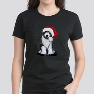 Bearded Collie Santa Women's Dark T-Shirt