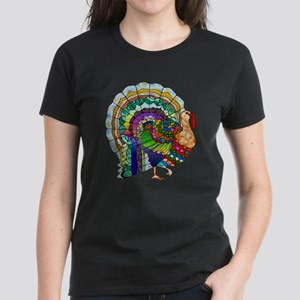 Patchwork Thanksgiving Turkey Women's Dark T-Shirt