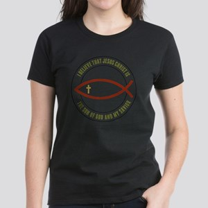 feb12_christian_fish_colors Women's Dark T-Shirt