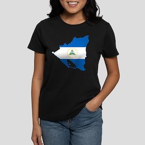 Nicaragua Flag and Map Women's Dark T-Shirt