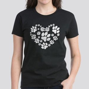 Paws Heart Women's Dark T-Shirt