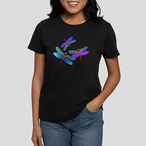Dive Bombing Iridescent Dragonflies Women's Dark T
