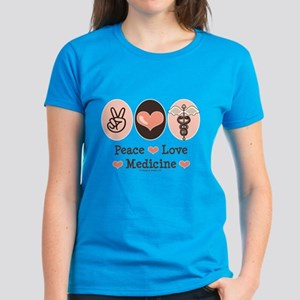 Peace Love Medicine Caduceus Women's Dark T-Shirt