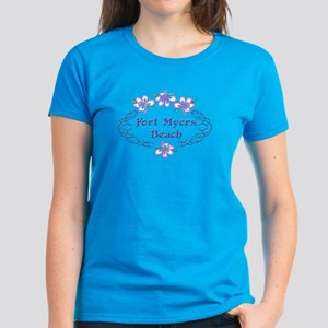 Fort Myers Beach: Flower Oval Women's Dark T-Shirt