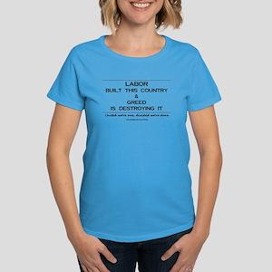 23aa5e74cdf668 Labor Built The Country Women's Dark T-Shirt