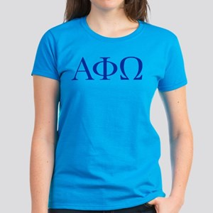 Alpha Phi Omega Letters Blue Women's Dark T-Shirt