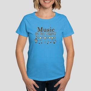 Music is my first Language Women's Dark T-Shirt