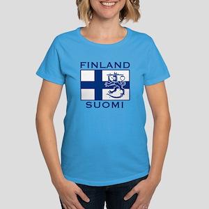 Finland Suomi Flag Women's Dark T-Shirt