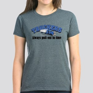 Truckers Pull Out in Time Women's Dark T-Shirt