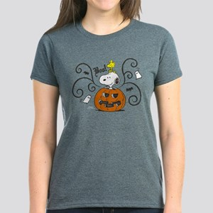 7eab2cf19 Peanuts Snoopy Sketch Pumpkin Women's Dark T-Shirt