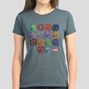 Marvel All Splatter Icons Women's Dark T-Shirt