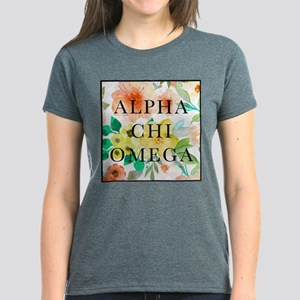 Alpha Chi Omega Floral Square Women's Dark T-Shirt