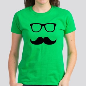 Mustache Glasses Women's Dark T-Shirt