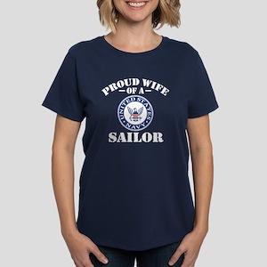 Proud Wife Of A US Navy Sailo Women's Dark T-Shirt