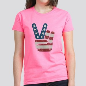 Peace Sign USA Vintage Women's Dark T-Shirt
