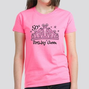 Tiara 50th Birthday Queen Womens Dark T Shirt