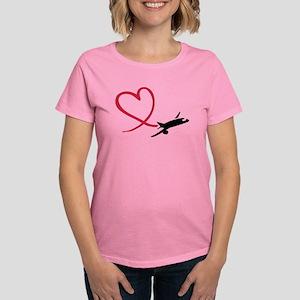Airplane red heart Women's Dark T-Shirt